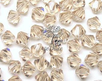 100 pcs Swarovski Crystal 5301/5328 3mm Ceylon Topaz Crystal Bicone Beads Wholesale