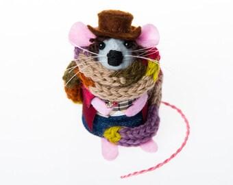 Tom Baker Doctor Who Mouse Artisan Ornament felt mouse gift for dr who fan collector gift for boyfriend husband dad men man