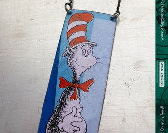 Cat in the Hat--Dr. Seuss--Upcycled Tin Necklace
