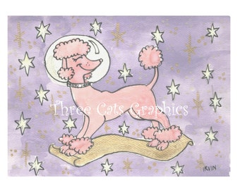 Holiday of the Cosmic Pink Poodle - Choose from ACEO Print, Note Cards, or Art Print
