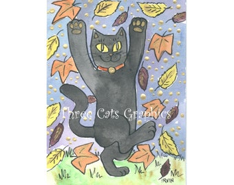 A Feeling Lucky Autumn Leaf Dance - Choose from ACEO Print, Note Cards, or Art Print