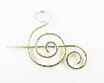 Silver Shawl Pin/Brooch/Slide Minimalist Fancy Spiral/Treble Clef