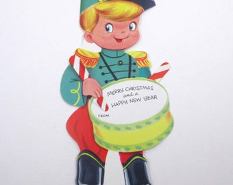 Vintage Unused Mechanical Christmas Greeting Card with Cute Little Drummer Boy in Uniform with Drum