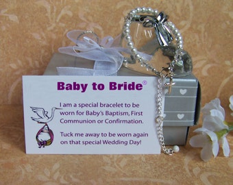 Baby Girl Baptism Bracelet  Baby to Bride® With attached extender growing with baby BTB30