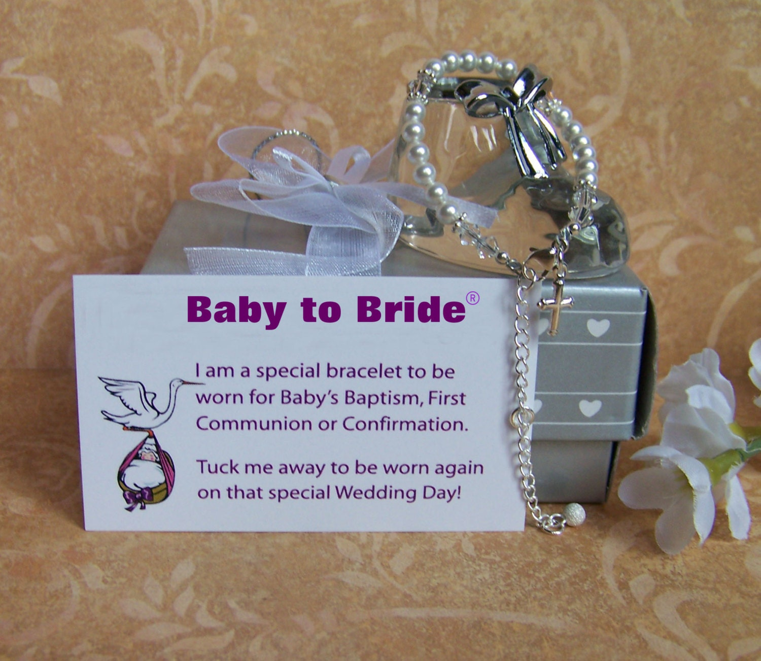 Baby girl baptism bracelet baby to bride with attached - Gifts for baby christening ideas ...