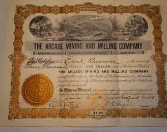1910 The Arcade Mining and Milling Co. Stock Certificate, 3000 Shares, #232 Denver Colorado Mine Precious Metals Old West Western Americana