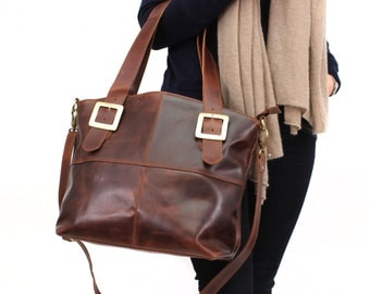 Leather Handbag Tote, Distressed Brown Leather Purse