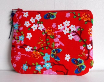Purse Pouch Make Up cosmetic bag handmade in red pip studio fabric lined