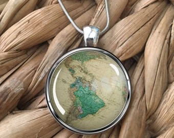 Vintage Globe Earth Travel Lovers Wanderlust Glass Pendant Necklace