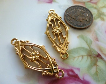 Vintage Brass Findings, Plated Secessionist Style, Sturdy Floral Flower Pendants, Drops, Charms or Connectors, 34x15mm, 2 pcs. (C41)
