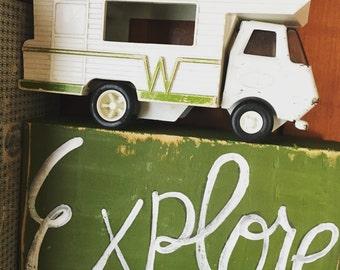 Vintage Tonka Winnebago RV Motor Home Explore Shelf Sign Army Green Vintage Wood RuStIc and Primitive Adventure Reclaimed