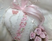 Stuffed Valentine Heart, Valentine Heart, Valentine Decor, Vintage Handmade Heart Pillow, Door Hanger, Pin Cushion, Tussie Mussie