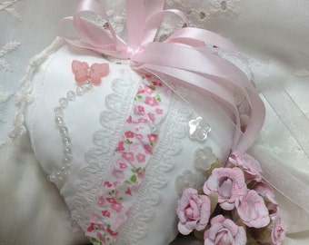 Vintage Handmade Heart Pillow, Door Hanger, Pin Cushion, Tussie Mussie