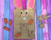 Brown Bunny Felt Tic Tac Toe Game - Easter Basket Gift Kids Travel Game Fun - READY TO SHIP