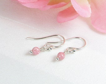 Very Tiny Rhodochrosite and Sterling Silver Earrings