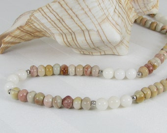 Mookaite, White Jasper, and Sterling Silver Adjustable Necklace
