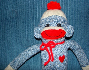 New Sock Monkey Doll  from Blue Red Heel Socks Babysafe