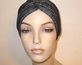 Chemo Hat Modern TabFree Turban in Striated Black  Stretch  Knit Fashion Turban, Cancer, Yoga,  - Many Colors Available