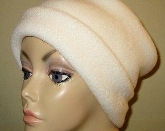 White Anti Pill Fleece Pillbox Hat, Winter Hat, Cancer, Chemo Hat, Warm Hat