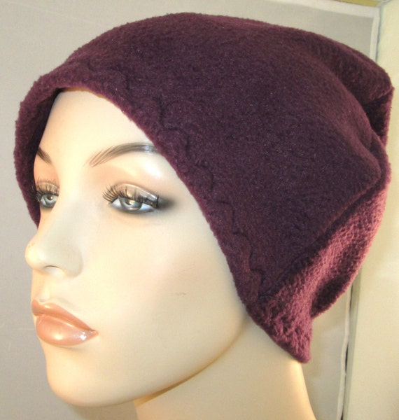Plum Anti Pill Fleece Hat, Winter Hat, Cancer, Chemo Hat, Alopecia