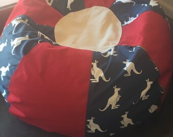 NEW Australian Kangaroo styled Bean Bag chair red white and blue with Cover and LIner