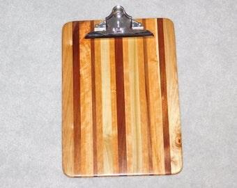 "Standard Size Wood Clipboard (9"" x 13"") - Oak, Cherry, Poplar and Walnut"