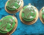 Vintage Glass Beads (1)(30x40mm) Beautiful  Egyptian Revival CLEOPATRA Pendant
