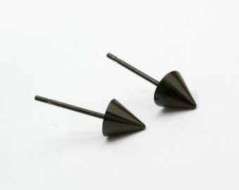 Conical Black Stainless Steel Earring Post Finding (EH010B)