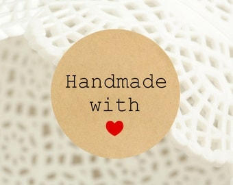 "60 pcs ""Handmade Make with love"" stickers,labels, envelope seals, round stickers (PSB-3212)"