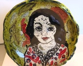 Genevieve ceramic bowl green red black handmade OOAK bowl figurative ceramic art serving bowl