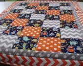Monsters 3 Piece Baby Crib Bedding Set MADE TO ORDER Free Shipping