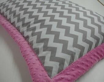 Gray Chevron Hot Pink Box Frame Pillow Sham Standard Size READY TO SHIP On Sale