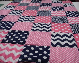 Navy and Hot Pink Chevron and Dots  3 Piece Baby Crib Bedding Set MADE TO ORDER