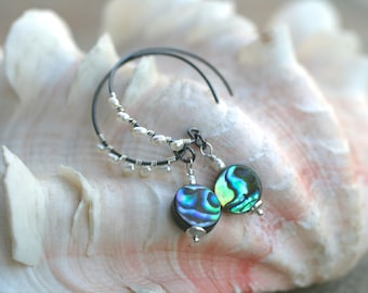 Abalone Shell and White Freshwater Pearl Wire Wrapped Oxidized Sterling Silver Hoop Earrings, Paua Shell