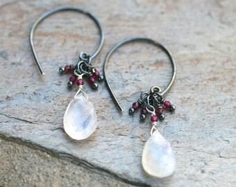 Rainbow Moonstone and Garnet Gemstone Oxidized Sterling Silver Handmade Earrings, January Birthstone Jewelry, Garnet