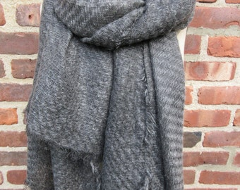 wool blend Scarf charcoal gray neck wrap Classic blanket shawl simple oversized unisex warm winter muffler bohemian accessory gift for her
