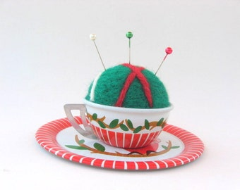 SHOP CLOSING SALE - Pin Cushion - Needle Felted - In Vintage Child's Tin Tea Cup And Saucer - Red, Green, and White - Owl