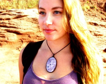 The Perfect Gift, Charoite Pendant Necklace, Wrapped Charoite pendant, Russian Charoite, Healing stones and crystals, Bohemian jewelry, OOAK
