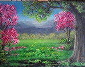 "Oil Painting Pink and Green Trees, Mountains, Grass 9"" x 13"" Almost READY to SHIP"