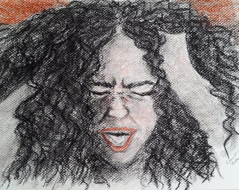 "Self Portrait Pastel Drawing - Original Drawing 9"" x 12"" READY to SHIP"