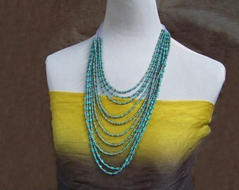 Turquoise Bib Necklace   Nacozari & Kingman Mine Turquoise Waterfall Necklace   Real Turquoise Beaded Southwestern Jewelry