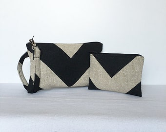 SALE - set of 2 - Square Wristlet  Zipper Pouch & Little Zipper Pouch - Chevron Black / Dention