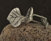 Valentines Day Sale Silver Aspen Leaf Cuff Links