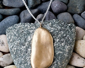 Valentines Day Sale Bronze Large River Rock Necklace