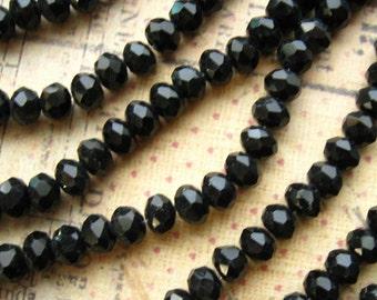 Black Crystal Beads - Set of 70 - 4mm Rondelles - Glossy Black Sworovski Style (CBD0163)
