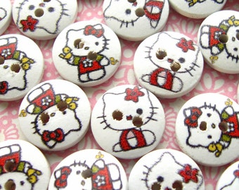 Hello Kitty Buttons - Set of 30 - White and Red Wooden Cat Buttons (NB0030)