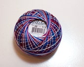 Tatting Thread, Lizbeth Size 20 Cotton Crochet Thread, Jewels, Color number 113, Red, White, and Blue Variegated Thread