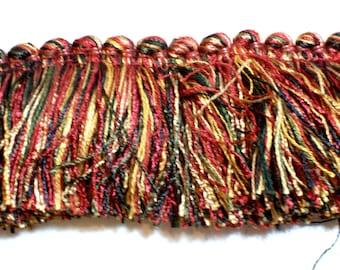 Brush Fringe, Gold, Black, Burnt Orange and Green Brush Fringe Sewing Trim 1 3/4 inches wide x 3 yards