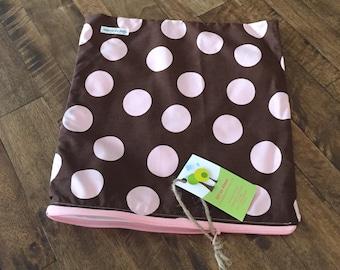 """12"""" x 12""""  Pink & Brown Wet Bag"""