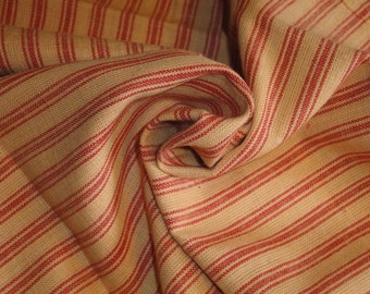FLAWED Ticking Material | Red Stripe Material | Homespun Material | Homespun Ticking |  Quilt Material | Sewing Material | 26 x 44